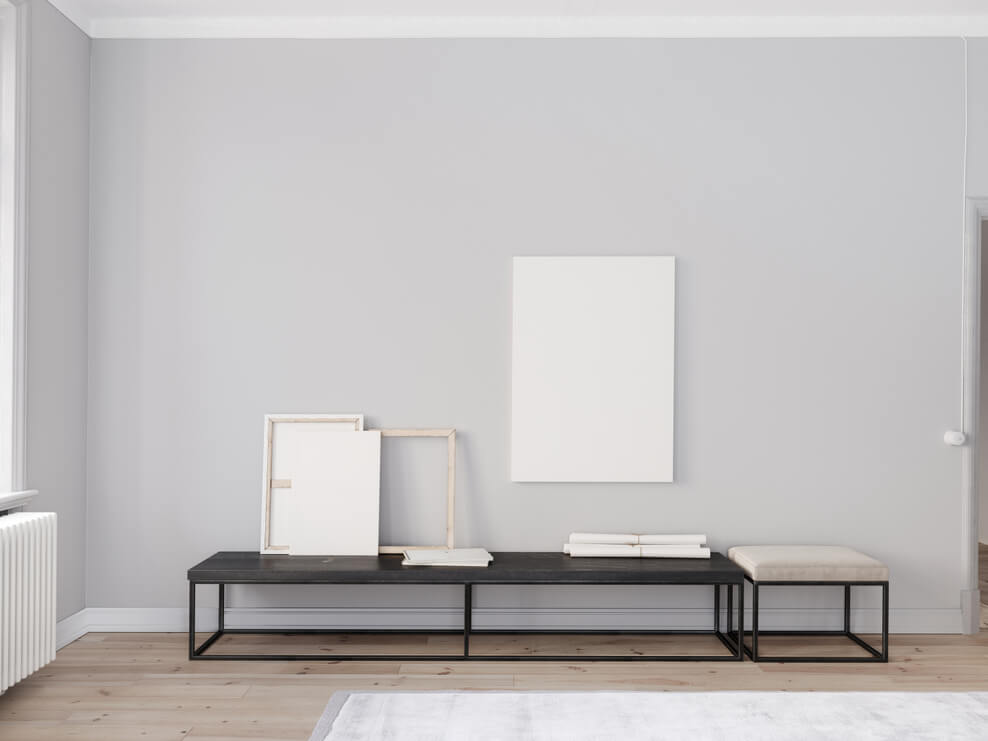 A room with blank canvases